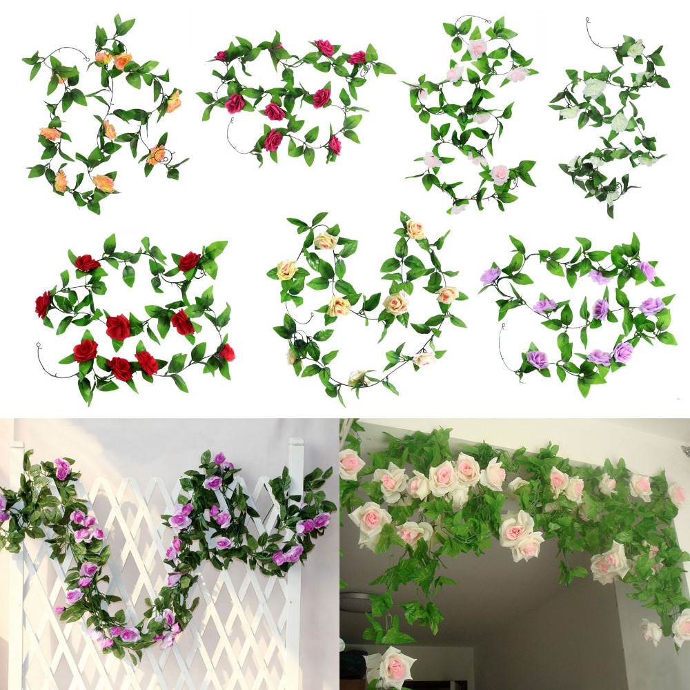 Artificial fake silk rose flower ivy vine garland for Artificial flower for wedding decoration