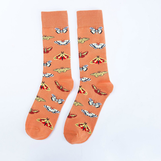 PEONFLY Personality Chinese Traditional Painting Birds Butterfly Flowers Pattern Fashion Casual Ventilation Cotton Socks Autumn