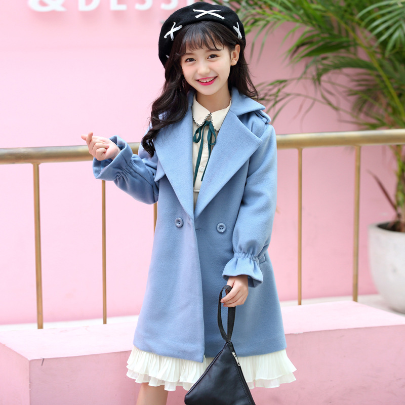 Thick Kids Clothes Baby Wool Coats for Girl 2018 Fashion Winter Cotton Girls Long Wool Coat Sweet Bow Children Clothing 3wb017 lavensey original new children thick cotton turn down collar fashion coats for girl baby clothing free shipping