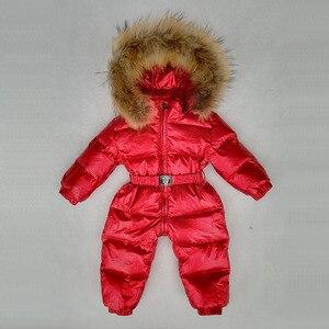 Image 4 -  30 Graden Russische Winter Jongens Meisjes 1 3Y Winter Overalls Baby Rompertjes Eendendons Jumpsuit Real Bontkraag Kinderen Bovenkleding
