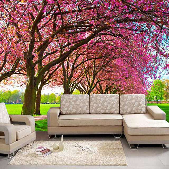 Brilliant 10 cherry blossom wall mural decorating design for Cherry blossom wallpaper mural