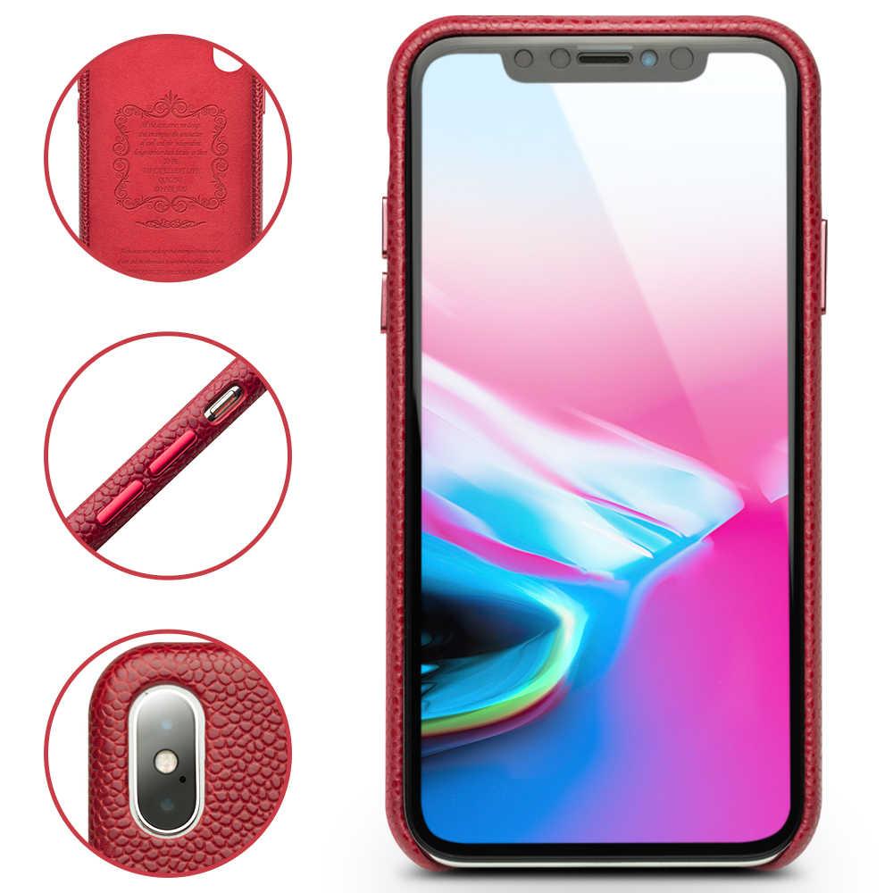 QIALINO Moda Ultra Fina Case Voltar para o iphone X/XS Luxo Saco De Couro Genuíno Manga Telefone Capa para o iphone XS Max 6.5 polegadas
