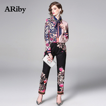 ARiby Women Long Sleeve Printed Elegant Two Piece Set 2019 Spring/Summer Fashion Casual Shirt+Black Pants Tracksuit