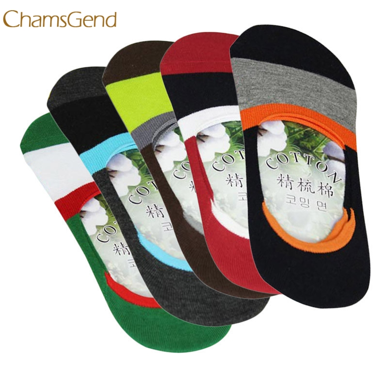Mens Ankle Socks Summer 5 Pairs Men Boat Invisible No Show Nonslip Liner Low Cut Cotton  ...