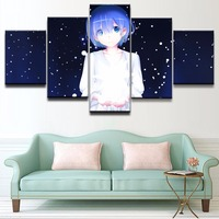 5 Pieces Art on Canvas Animation Rem Girls Poster Canvas Prints Decorative Picture Modern Wall Paintings Wall Paintings HD Art