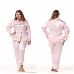 Image 4 - JULYS SONG Large Size Ladies Silk Pajamas Set Long Sleeved Cardigan Loose Two Piece Female Nightwear Womens Sleepwear