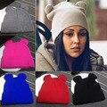 2016 das Mulheres Chapéus de Inverno Quente Malha Chapéu Trança Chapéu Com Orelhas das Mulheres Knit Caps Skullies Gorros Hop do Sexo Feminino Bonnet Femme
