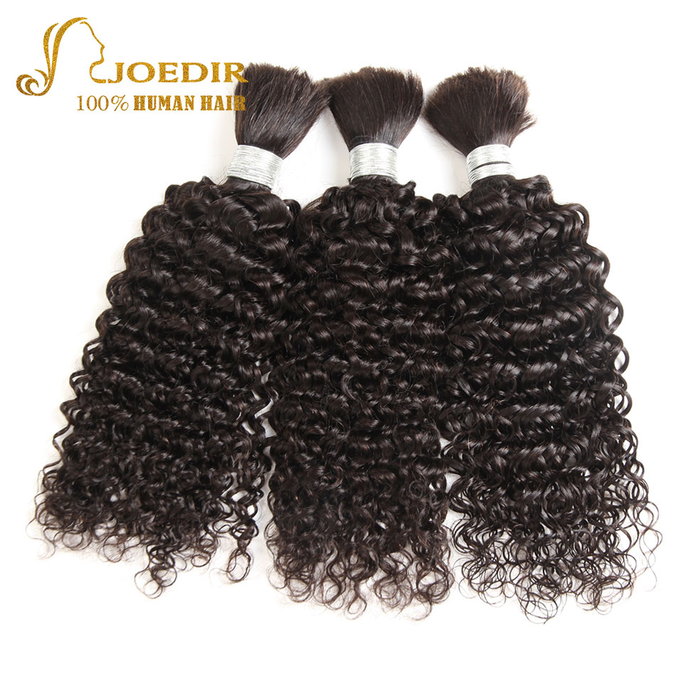 Joedir Curly Hair Indian Virgin Hair Bulk Bundles Unprocessed Indian Kinky Curly Hair Bulk Extensions Natural Black Hair Product