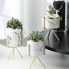 Скандинавский мраморный узор керамическая железная художественная ваза розовое золото серебро Настольный зеленый цветочный горшок гостиная/офис вазы декоративные