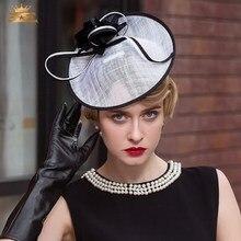 Vintage Fascinator sombrero de lino señora banquete elegante partido  británico sombrero femenino aristocrático fortín casquillo . c0e2cfc8cc31