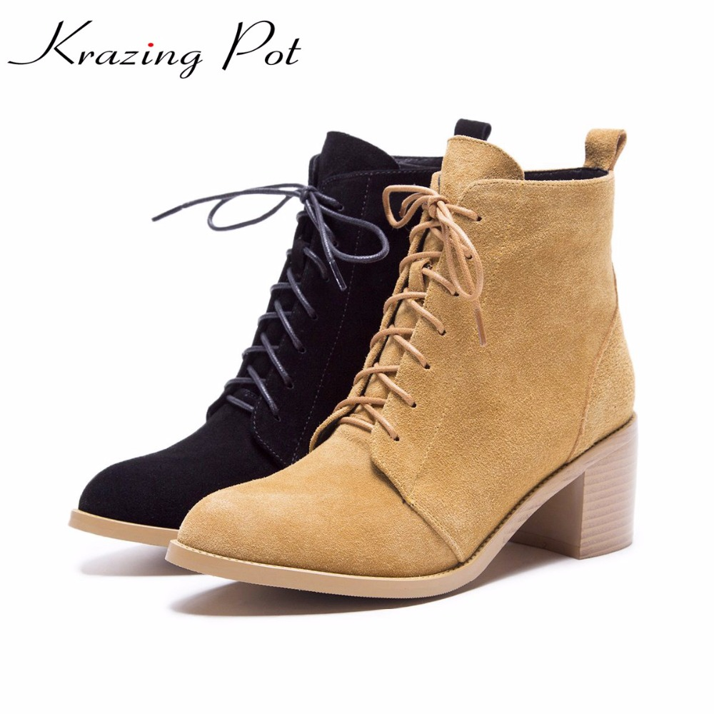 Krazing pot hot sale cow suede round toe thick high heels fashion office lady bowtie design keep warm quality ankle boots L8f1 krazing pot hot sale cow suede round toe thick high heels fashion office lady bowtie design keep warm quality ankle boots l8f1
