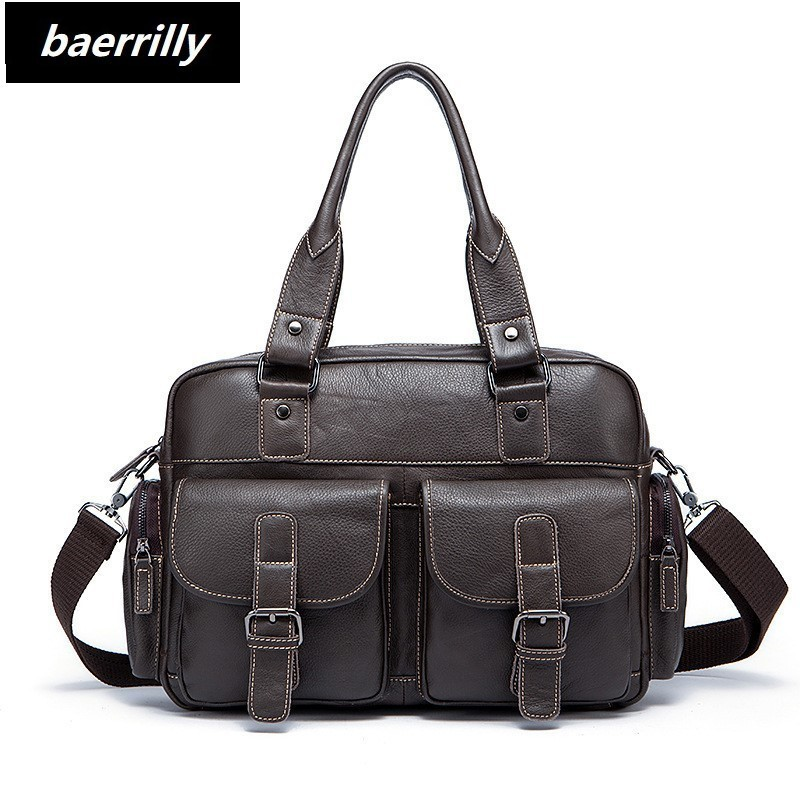 Genuine Leather Men Briefcase Business Bags Male Office Work Laptop Bags Men Travel Bag attache brief case portfolio man lawyer 100% genuine leather men backpack large capacity man travel bags high quality male business bag for man computer laptop bag