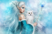fabric poster print (frame available) fantasy art girl elf girl and white owl PDM381 living room home decoration wall decor