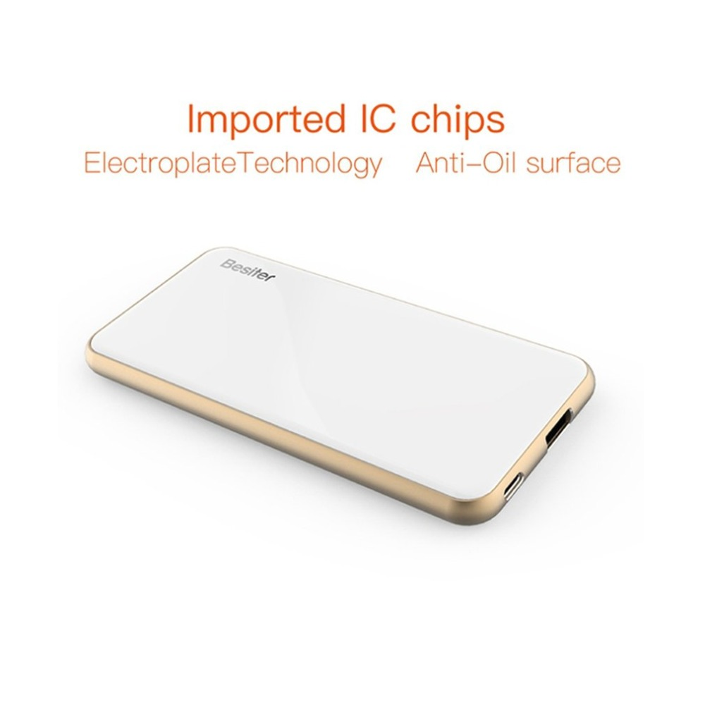BESITER Mercure 10 (BST-006Q) 10000 mAh Ultra-mince Banque D'alimentation Portable Batterie Chargeur Alimentation Pour Téléphones Intelligents Blanc