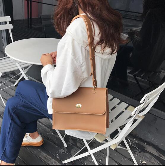 Female bag simple style fashion bag PU leather women vintage messenger shoulder bag office lady <font><b>handbag</b></font> <font><b>brown</b></font>/black Q-2659F