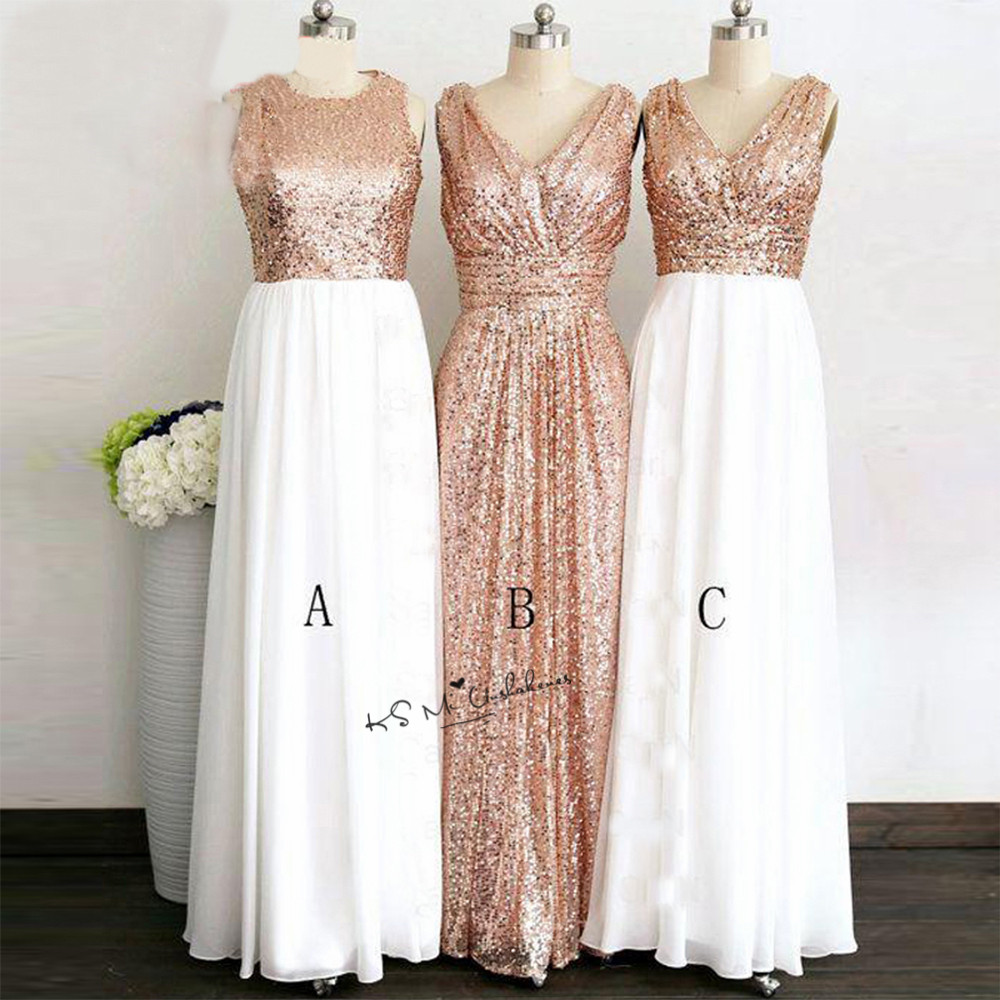 Cheap Sequined Champagne   Bridesmaid     Dresses   for Women Vestido Madrinha Casamento Longo Long Wedding Party   Dress   3 Styles Tank