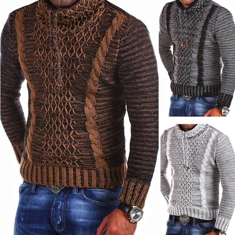 ZOGAA 2019 Men's Knit Sweater Scarf Collar Slim Knit Hip Hop Streetwear Long Sleeve Casual Men Sweaters Christmas Sweater Winter
