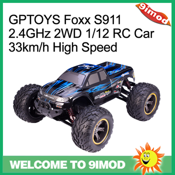 GPTOYS Foxx S911 2.4GHz 4CH 1/12 Scale RC Car 2WD 36km/h High Speed Big Wheels Brush Off-Road RC Car
