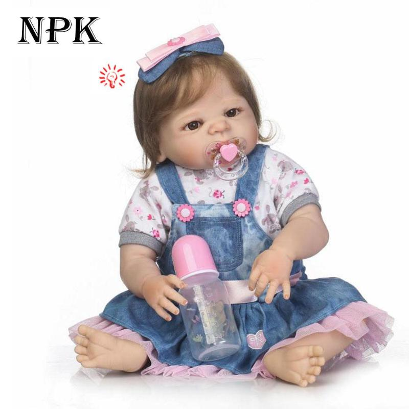 NPK Simulation Reborn Baby Dolls 57cm Silicone Lifelike Baby Reborn Dolls Children Birthday Gifts Kids Playmate Girls Sleep Doll