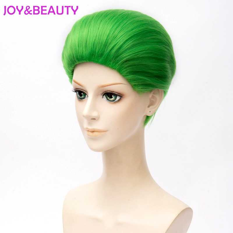 JOY&BEAUTY Jared Leto Batman Joker Green Wig 30cm Synthetic Hair Party Halloween Cosplay Costume Wig Heat Resistant Hair