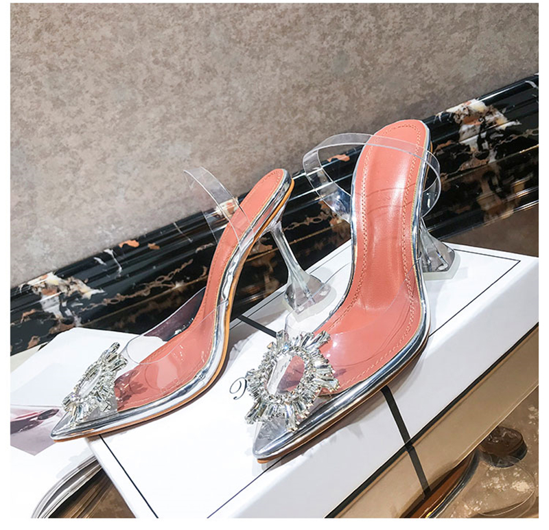 Women's high heel sandals 2019 summer new pointed low heel rhinestone decorative sandals 42 large size jelly shoes