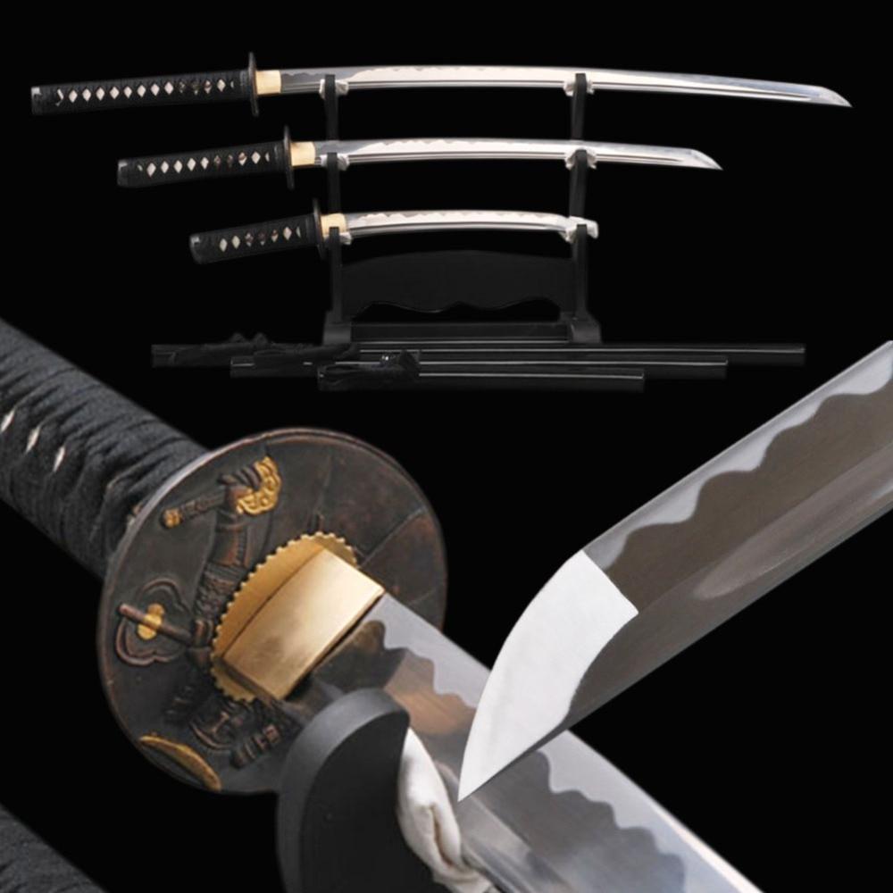 Delicate Decoration Japanese Samurai Swords <font><b>Set</b></font> 1060 Carbon Steel Blade Katana & Wakizashi & Tanto Full Tang Sharp Knives
