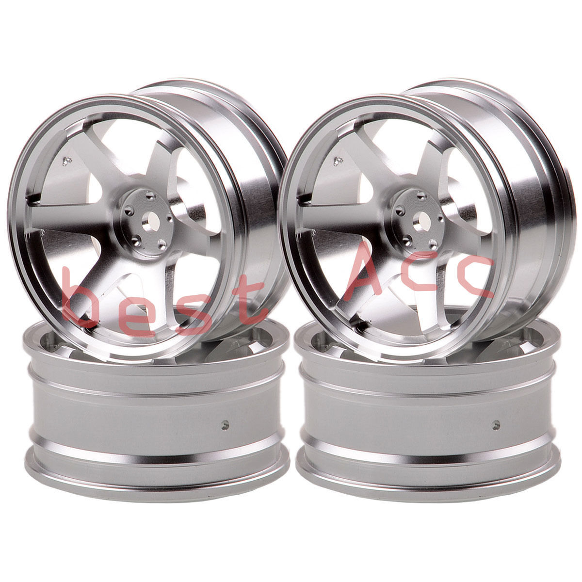 Remote Control Toys 4xwheel Rim 1052 Silver Aluminum 6 Spoke Rc 1/10 On-road Drift Sakura Hsp Tamiya To Assure Years Of Trouble-Free Service