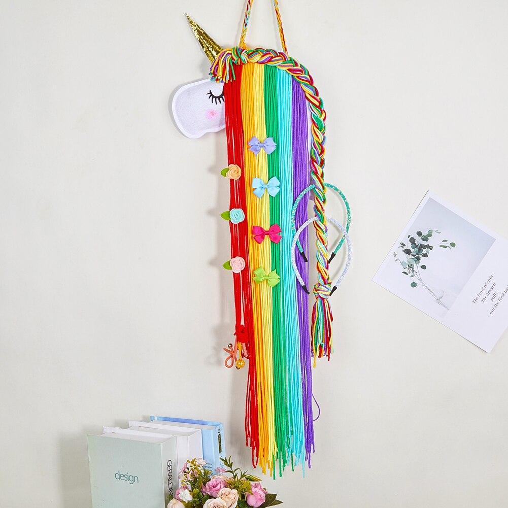 Unicorn Hair Clips Holder Organizer Hairband Knitted Handmade Wall Hanging Decor
