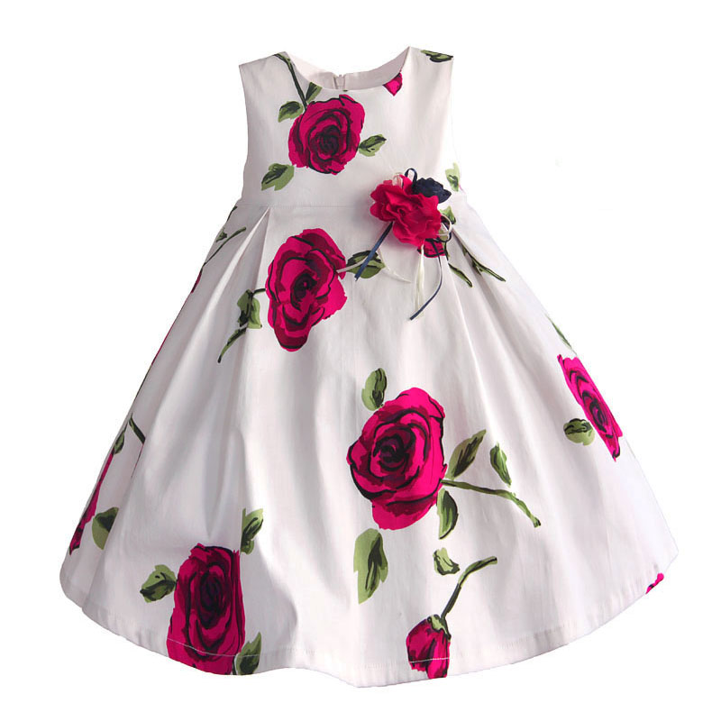 Rose Flower Baby Girls Dress White Princess Girl Party Dress Cotton 3D Bow Kids Clothes Summer Dresses robe fille enfant 1-6T 2015 new girls dress princess dress children party wear veil big bow flower girl wedding dress white rose baby girls