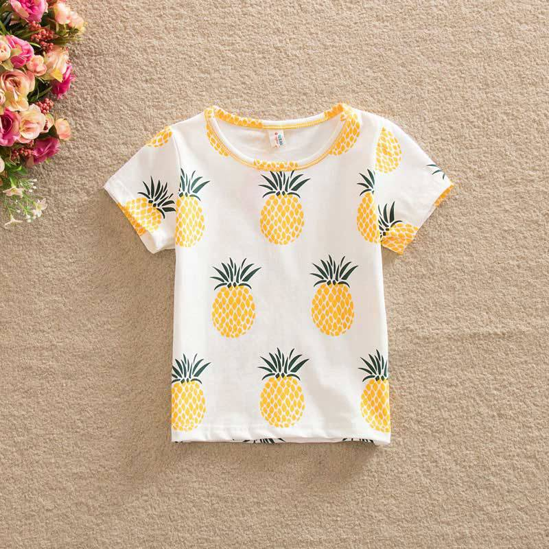 Tops & Tees Fashion Baby Children Girls Kids T Shirt Cotton Pineapple Print One-pieces Casual Dress T-shirt Kids Clothes S72 Easy To Lubricate