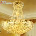 T moderna estilo europeo Circular de lujo luces pendientes lámpara cristal de oro planta ático salón escaleras de luz con LED salta