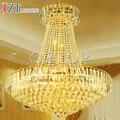 T moderno estilo europeu Circular luzes pingente de luxo lâmpada de cristal de ouro andar da cobertura salão escadas luz com chips de LED