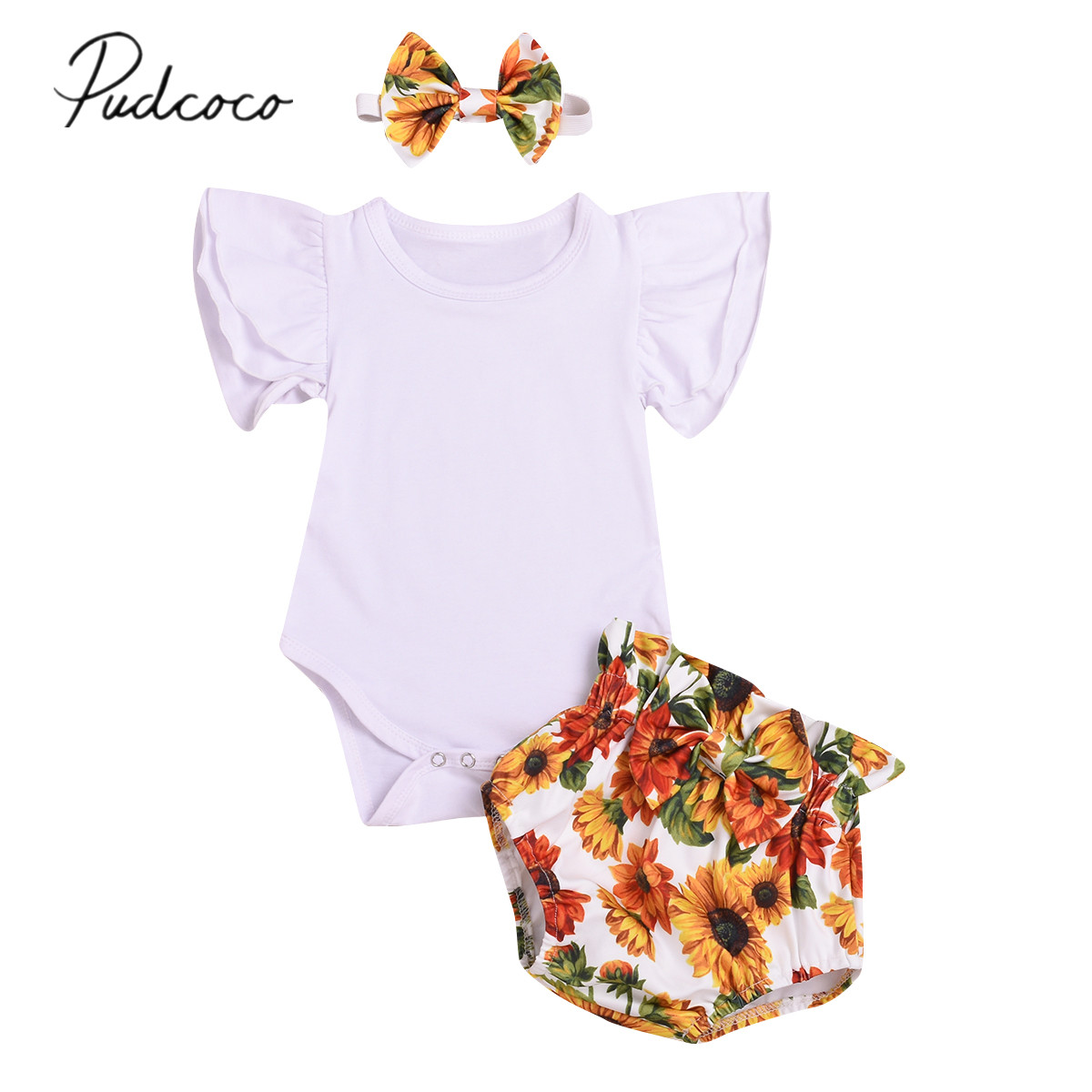 257e3acc4f 2019 Baby Summer Clothing Baby Kids Girls Outfits Toddler Flare Sleeve Top  Romper Sunflower Pants Shorts
