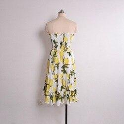 Street Style Sexy Strapless dress women Boho backless beach summer dresses yellow Floral print Ruffles short dress vestidos 6