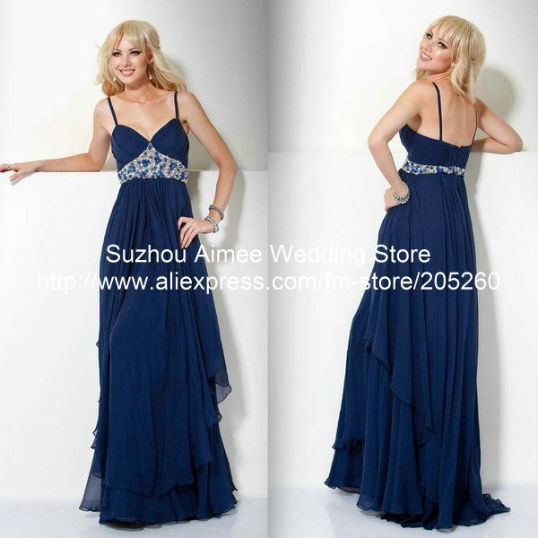 Designer Crystal V-Neck Spaghetti Strap Empire Waist Blue Party Gown Long Evening Dresses 2014 AB121