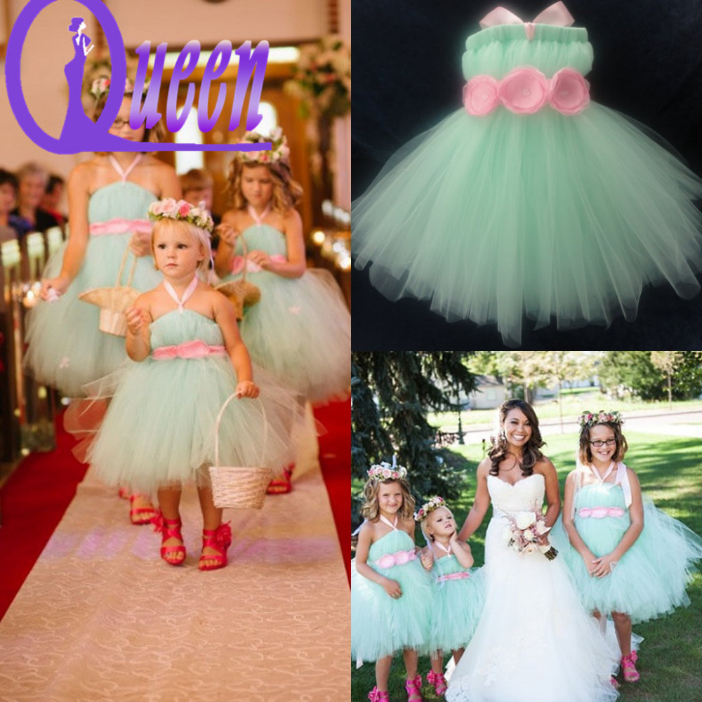 Aliexpress.com : Buy Green Color Ball Gown Tulle Flower Features ...