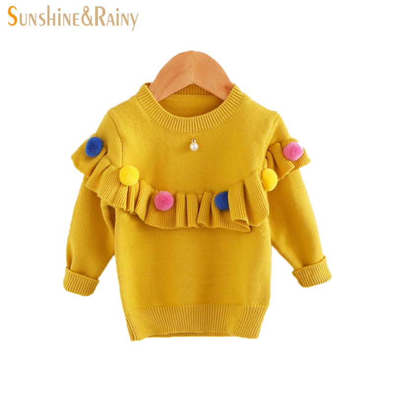 Ins Baby Girls Sweaters Kids Handmade Pom Pom Sweater