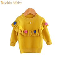 Ins Baby Girls Sweaters Kids Handmade Pom Pom Sweater Coats For Girls Autumn Winter Children Long