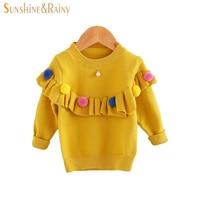 Ins Baby Girls Sweaters Kids Handmade Pom Pom Sweater Coats For Girls Autumn Winter Children Long