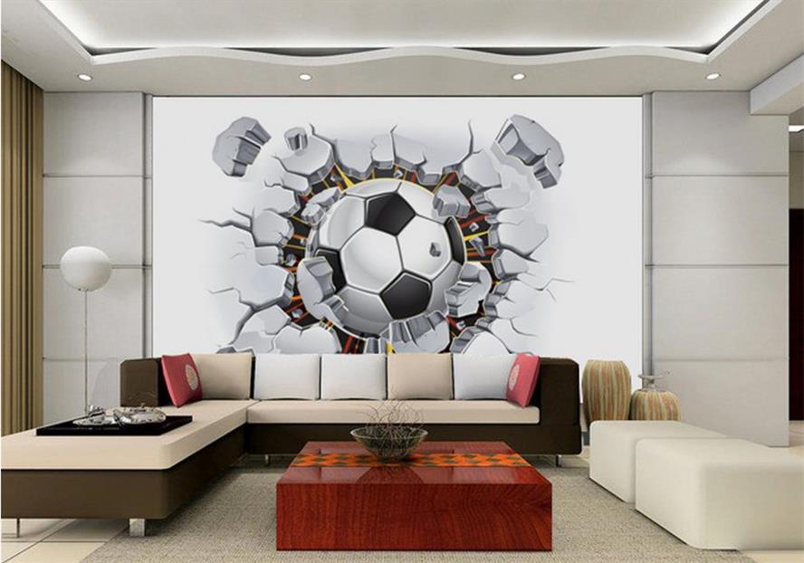 Behang Kinderkamer Voetbal : Custom d foto behang kinderkamer mural voetbal muur baksteen d