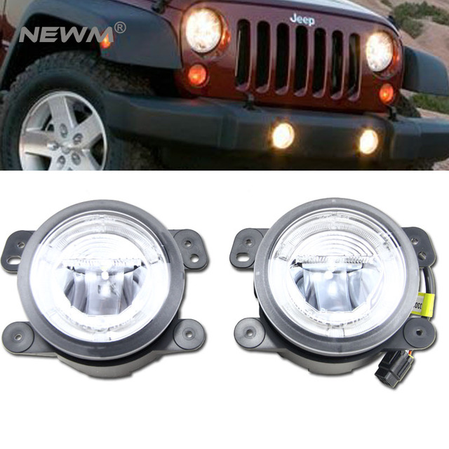 20w Led Fog Light Halo Angle Eyes Drl For Chrysler 300 Pt Cruiser Magnum Journey Jeep Wrangler 07 11