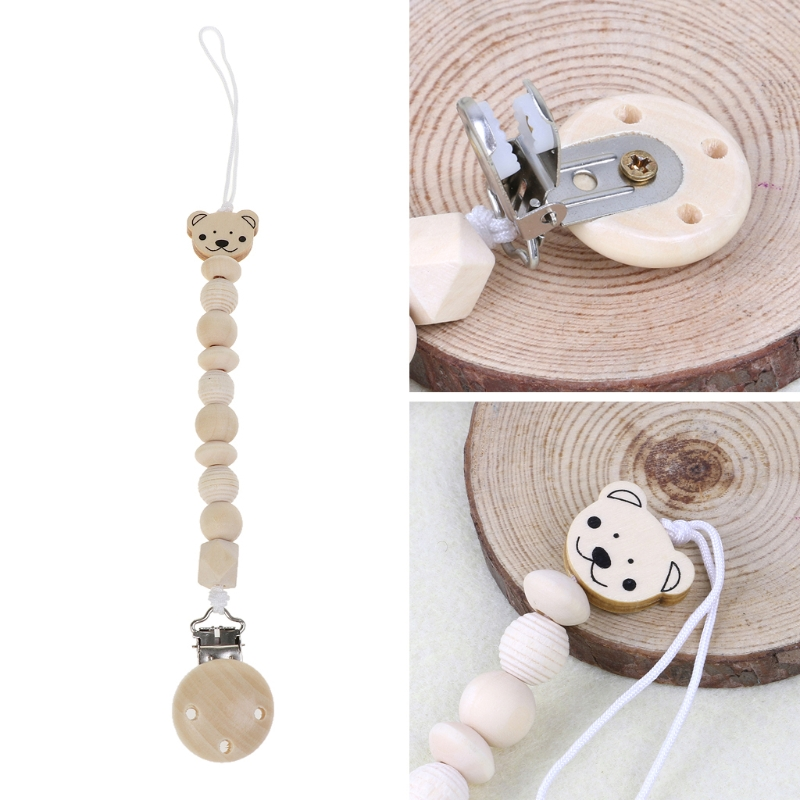 Baby Dummy Chain Wood Pacifier Clip Bear Head Bead Dummy Clip Infant Teether Toy MAY29-A