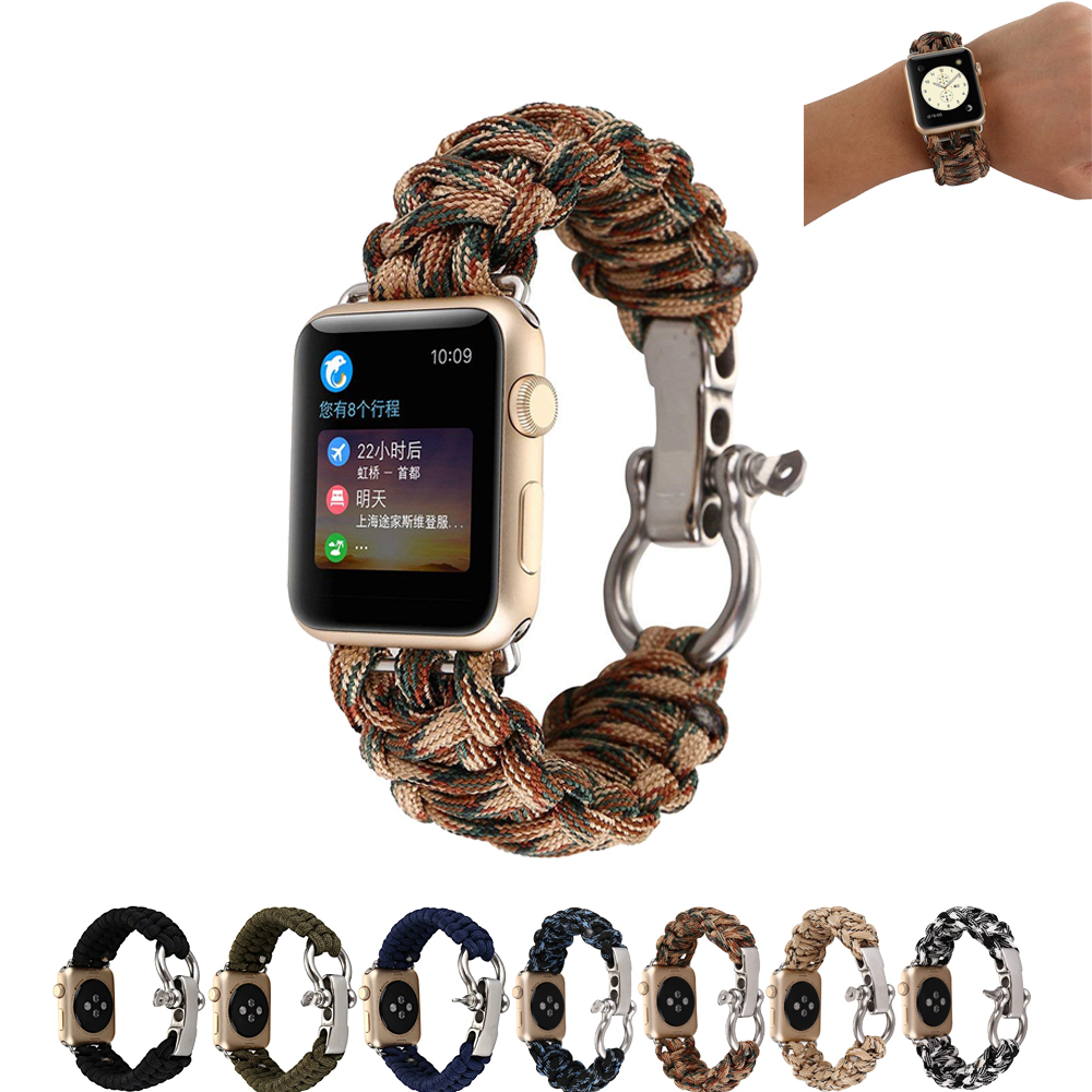 Woven nylon Rope Watch strap for Apple Watch band 42 mm 38 mm Outdoors Nylon Strap Wrist with Whistle for iwatch 1 2 цена и фото