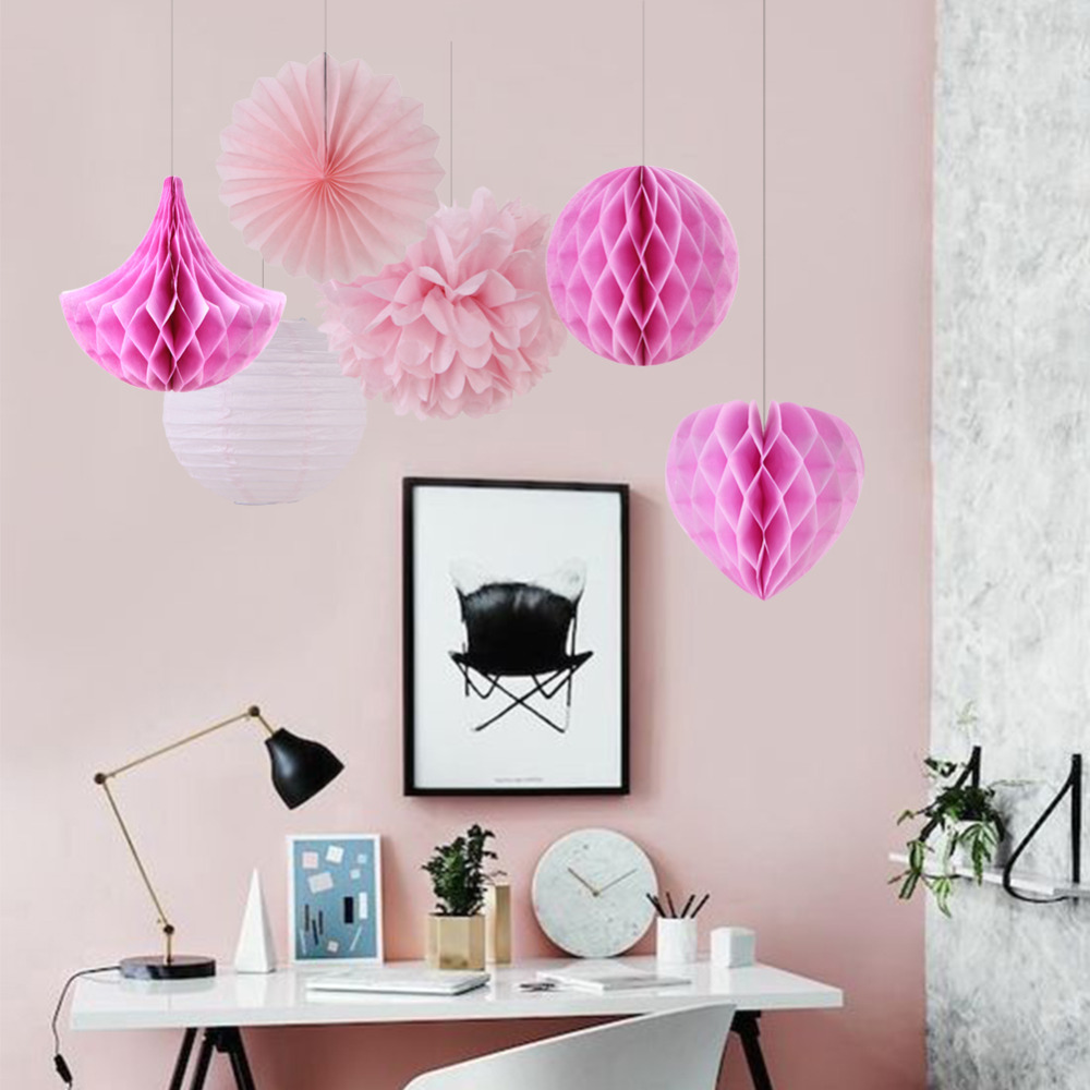 6pcs Pink Shade Party Decoration Set Honeycomb Ball Heart Drop Pinwheel Pom Pom for Birthday Baby Shower Wedding Valentines Day in Party DIY Decorations from Home Garden