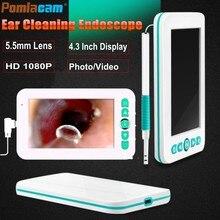 ¡Novedad de 2019! otoscopio de oído Scop, pantalla de 4,3 pulgadas, 1080 P, limpieza de orejas Visual, cuchara, cámara endoscópica con grabación de vídeo/foto