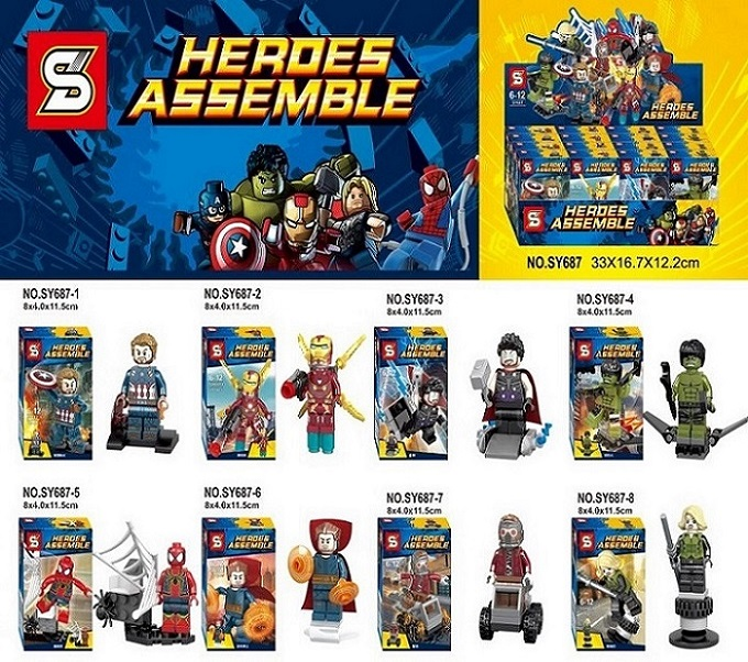 SY687 Super Heroes Captain America Iron man Thor Hulk Spiderman Superman Set Building Blocks Bricks Action Children Gift Toys sy687 super heroes captain america iron man thor hulk spiderman superman set building blocks bricks action children gift toys