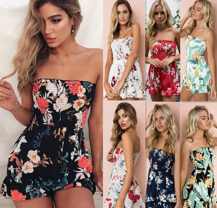 Summer Womens Sundress Romper Tops Ladies Floral Off Shoulder Bodycon Jumpsuit Playsuit Beach Holiday Short Trousers Romper
