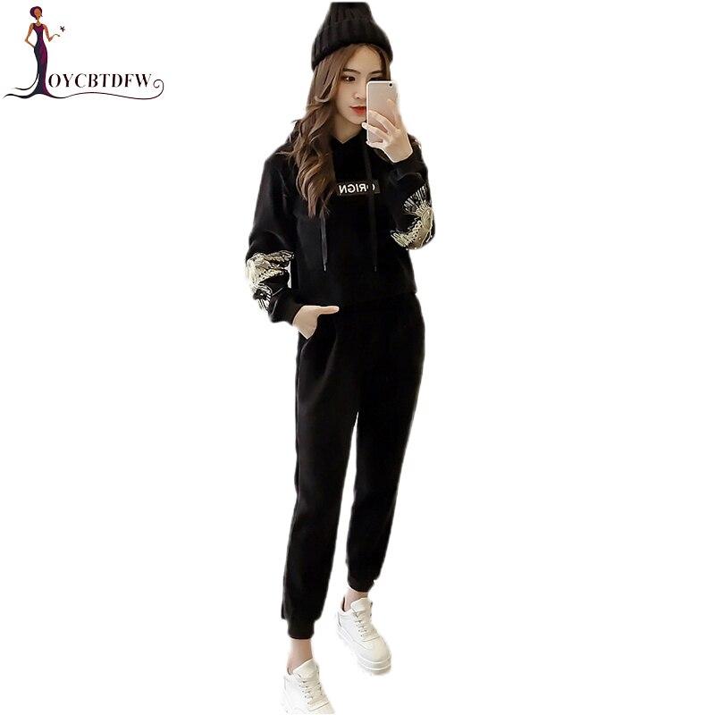 Inverno Dd994 Oro Di Casual Velluto Modo Cappuccio Black Femminile Pezzi Set Del Con Pantaloni Ricamo Autunno Felpe Due Più AL54jR