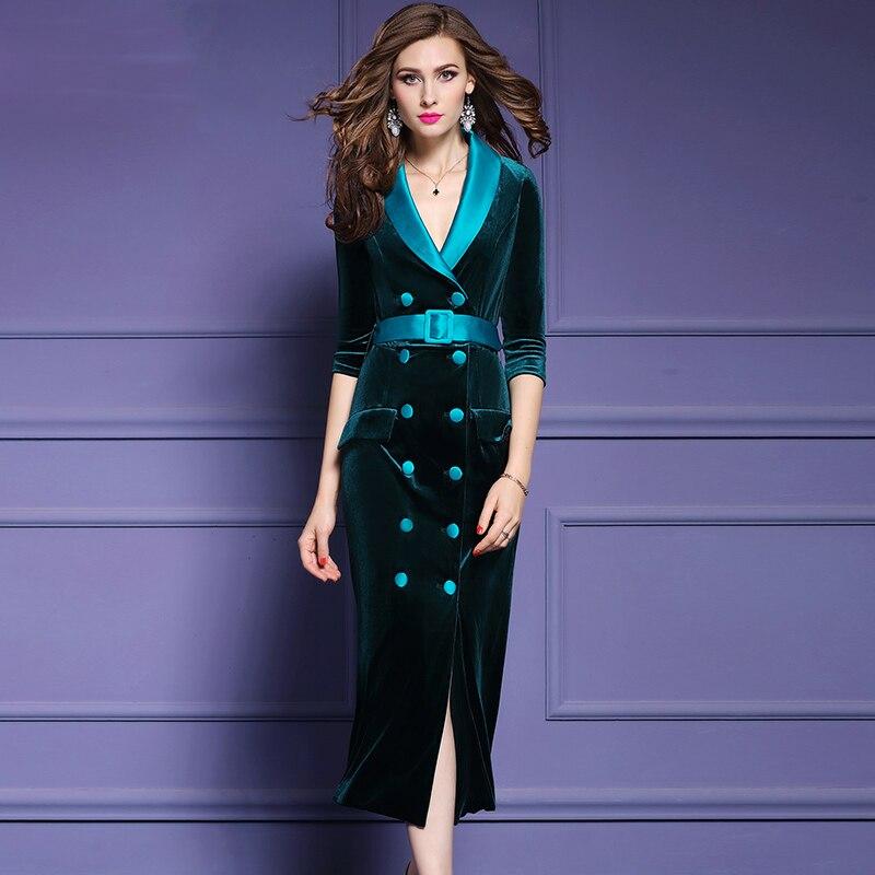 Qian Han Zi najnowszy fashion Runway płaszcz kobiet trzy czwarte rękawem podwójne piersi szczupła Party aksamitna długi płaszcz w Wełna i mieszanki od Odzież damska na  Grupa 1