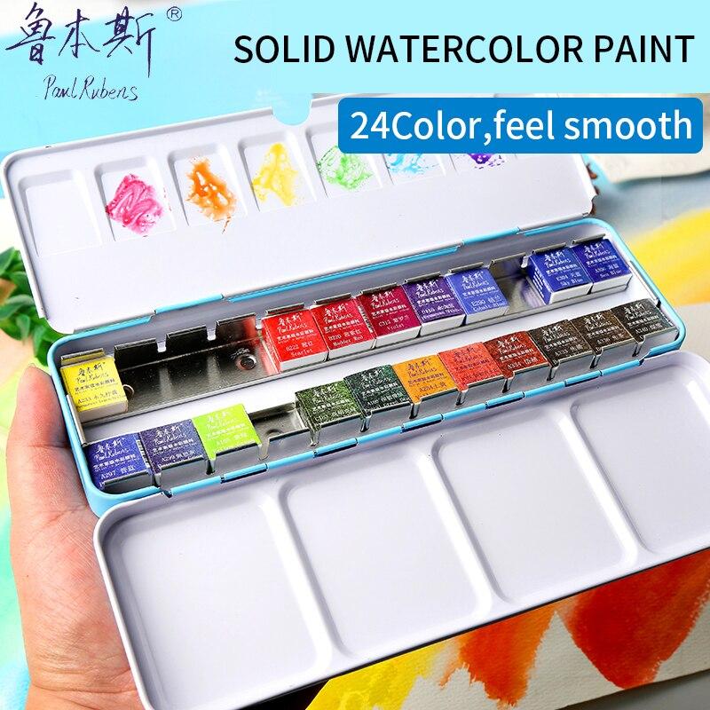 Paul Rubens 24Colors Solid Watercolor Paint Set Iron Box Professional Artist Portable Watercolor Pigment Set Paint